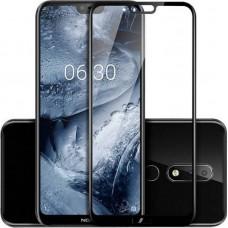 Tempered Glass Για Nokia 6.1 Plus Full Cover Glue Προστατευτικό Οθόνης - Mαύρο