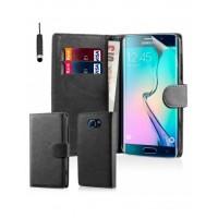 Θήκη Book Style με Βάση Στήριξης για Samsung (Galaxy S6 Edge) - Μαύρο